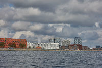 View of the city of Copenhagen in Denmark during cloudy day