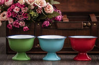 Colorful Porcelain Ice Cream Bowls with Enamel Look