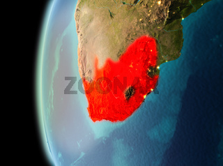 Evening view of South Africa on Earth