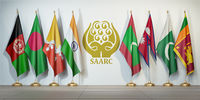 SAARC. Flags of memebers of South Asian Association for Regional Cooperation and symbol.