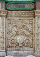 White marble carved wall of ablution fountain at the courtyard of the great Mosque of Muhammad Ali Pasha, Citadel of Cairo, Egypt