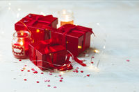 Gift box with red bow ribbon and heart