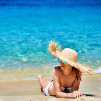 Woman in bikini on beach