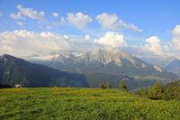 Mountain range seen from Obermutten, Canton of Grisons, Switzerland.