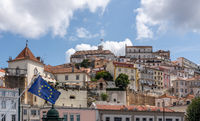 View from Santa Clara bridge towards the cityscape of Coimbra University