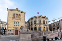 Oslo, Norway - march 16, 2018: Exterior of the Parliament of Norway in Oslo, Norway. The lion statue in front