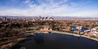Aerial View over Lake Ferril in City Park of Denver Colorado