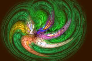 Abstract image: fractal vortex on a black background.