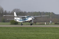 Single-engine business airplane during take off