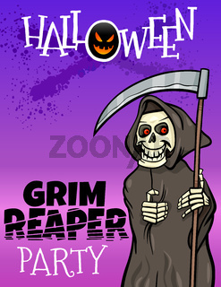 Halloween holiday cartoon design with grim reaper