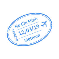 Vietnam International travel visa stamp on white. Arrival sign blue rubber stamp with texture