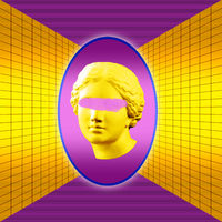Modern conceptual art poster with yellow purple colorful antique Venus bust. Contemporary art collage.