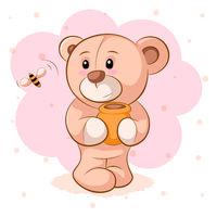 Teddy bear with a keg of honey.