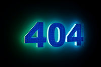 word 404 with neon light