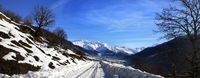 Snow road in winter morning mountain