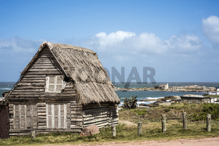Abandoned home on the Punta del Diablo Beach, popular tourist site and Fisherman's place in the Uruguay Coast