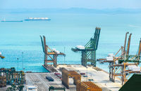Port harbor, cranes and containers