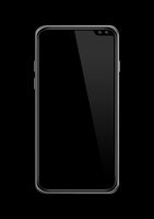 All-screen blank smartphone mockup isolated on black. 3D render