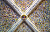The ceiling decorated with azulejo tiles in the queen's bedroom. Pena Palace.  Sintra. Portugal