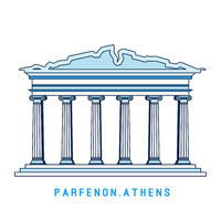 Line art Parthenon, Athens, Greece, European famous sight, old temple, vector illustration in flat style.