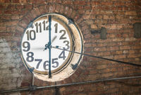 Big old clock embeded on the wall