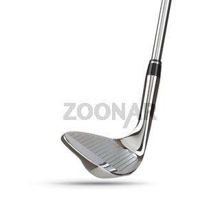 Chrome Golf Club Wedge Iron on White Background