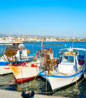 Fishing boats Paphos sea Cyprus
