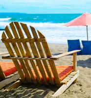 Beach chair, tropical resort. Bali