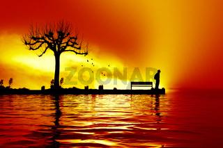 man at the sunset lake