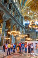 Group of sightseers in The Hagia Sophia