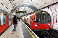 London, United Kingdom - May 12, 2019 Interior view of the Underground Tube System in London. London's system is the oldest underground railway in the world, dating back to 1863.