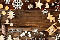 Wooden Background. Frame Of Christmas Decoration Sled And Tree