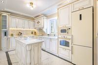 neoclassic style luxury kitchen interior with island