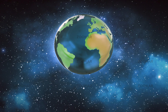 Illustration of a planet earth in space. Globe of the earth.