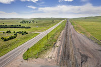 highway and railroad in Nebraska Sandhills
