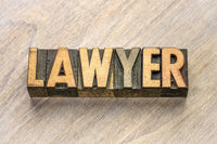 lawyer word abstract in wood type