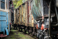 Old disused retro freight train wagons