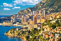 Monaco cityscape and coastline colorful nature of Cote d'Azur view