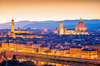 Florence Duomo and cityscape panoramic evening sunset view