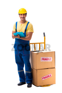 Young contractor with fragile boxes isolated on white