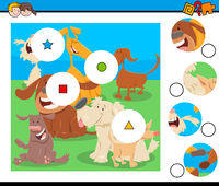 match pieces puzzle with dogs characters