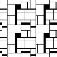 Black and white painting in Piet Mondrian's style, seamless pattern