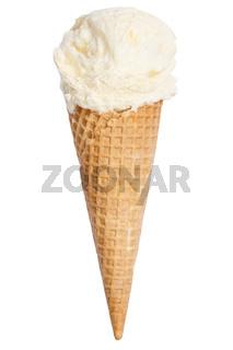 Vanilleeis Vanille Eis in der Waffel Kugel Sommer isoliert Freisteller freigestellt