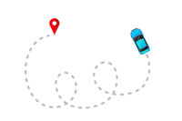 Blue car with gray track trace and red GPS mark on white