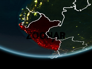 Peru on Earth from space at night
