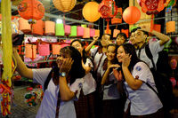 pupils enjoy with friend and selfie