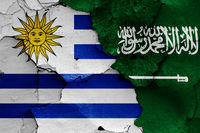 flags of Uruguay and Saudi Arabia
