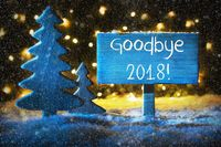 Blue Christmas Tree, English Text Goodbye 2018, Snowflakes