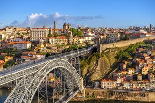 Porto Portugal city skyline at Porto Ribeira with Douro River and Dom Luis I Bridge