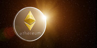 Etherium in space with rising sun behind